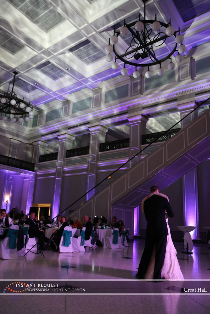 wedding halls st paul mn%0A Great Hall Wedding Uplighting  H   effect Lighting  Purple uplighting