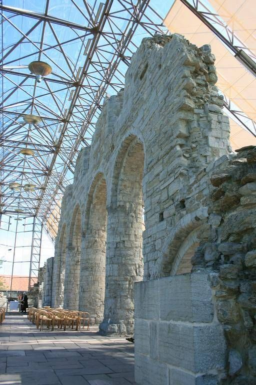 Hamardomen.The ruins of old Hamar Cathedral. Norway. Glass Structure for protection.