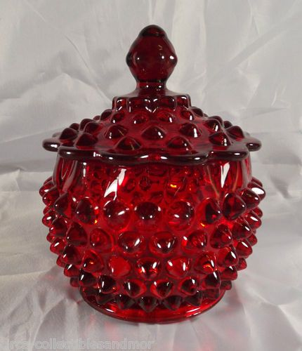 Ruby Red Fenton covered Candy Dish.  Perfect for Christmas.  (I have my Grandma's dish.  She always had licorice all sorts in it.)