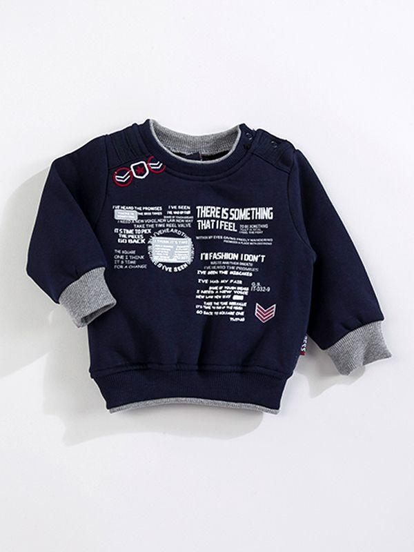 Gess  Yazılı Erkek Sweatshirt-Lacivert
