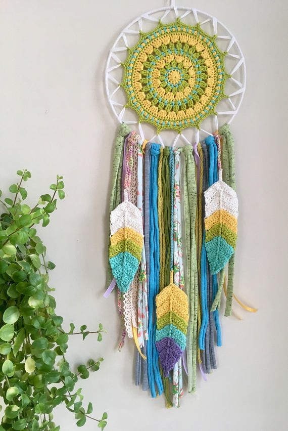 Diwali  -Concept and Description- Thank you for coming to see my work, the concept is... Tibetan Mandala x Chakra Color x Native American Dream catcher. Mandala part is crochet by me. Inspiring colors are Green , Yellow and Blue.  This dreamcatcher is related to the one