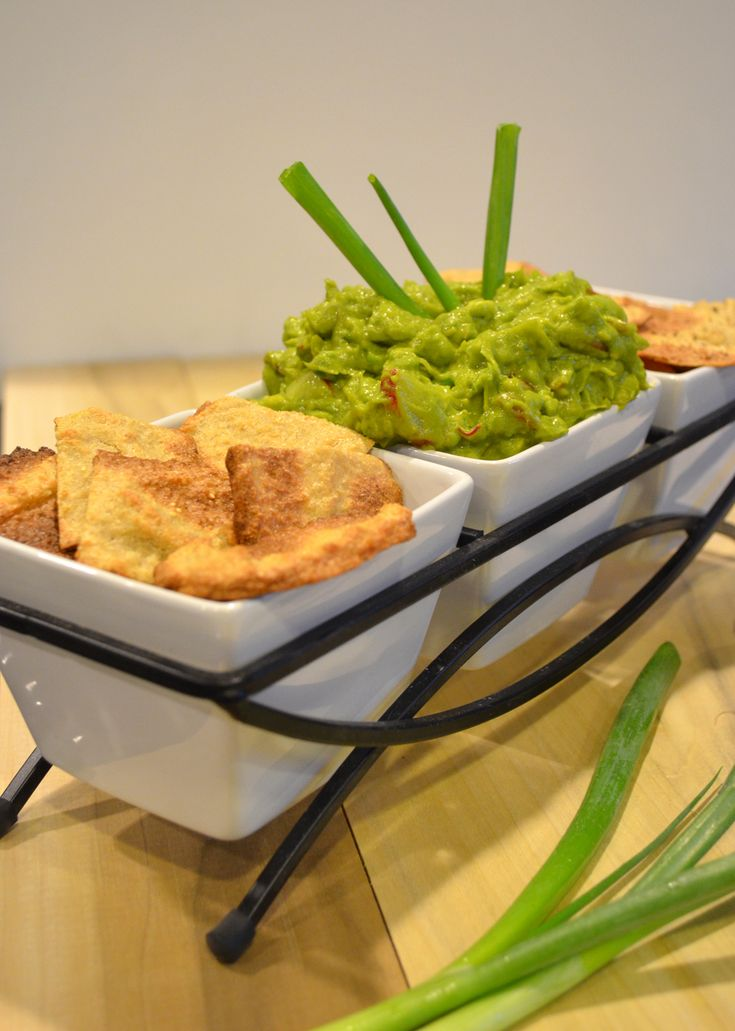 Homemade quinoa chips with Asian guacamole