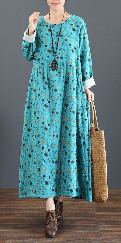 8592492a52 Cute Vintage Print Cotton Linen Maxi Dresses For Women 5219 ...