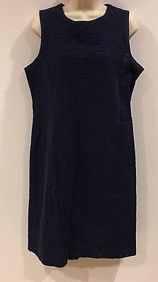 Talbots Eyelet Lace Shift Dress Navy Blue Sleeveless Size 16 Womens  | eBay