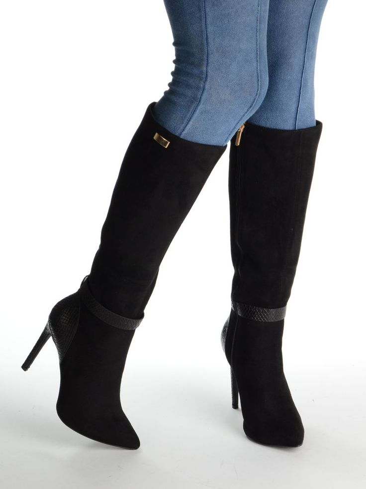 ALVERTA Pointed Long Boot with Snakeskin Heel & Strap and Gold Detailing