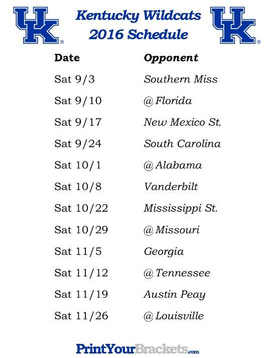University of Kentucky 2016 Football Schedule
