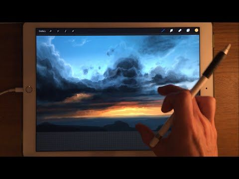 Apple Pencil drawing / iPad Pro Painting Demo, How to paint sky in Procreate art app - YouTube