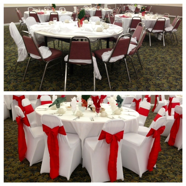 Pizzazz Banquet Chair Cover In Red Dark Red Table Runners