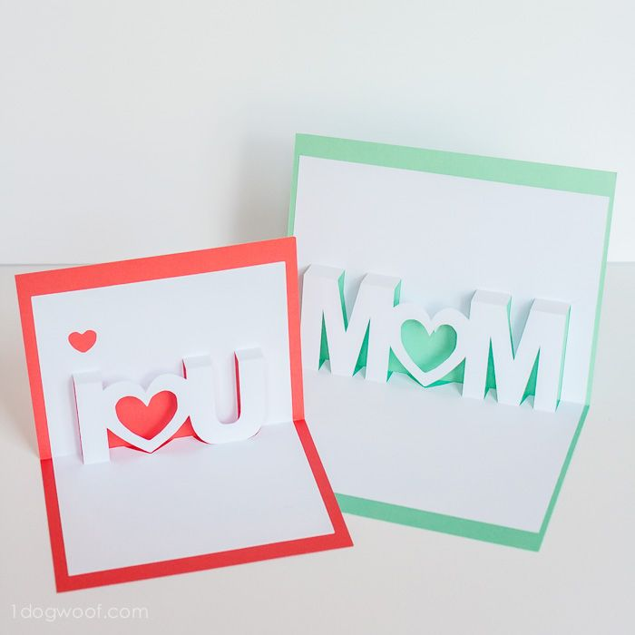 Mom, I Love You Pop Up Cards with Free Silhouette Cut Files - One Dog Woof