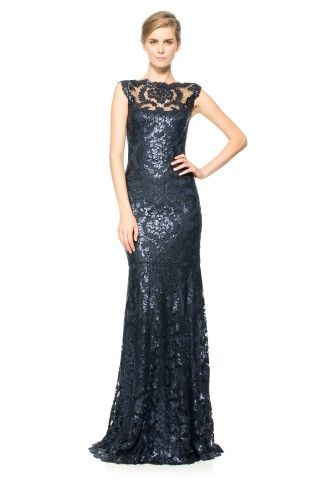 Tadashi Shoji Paillette Embroidered Lace Gown