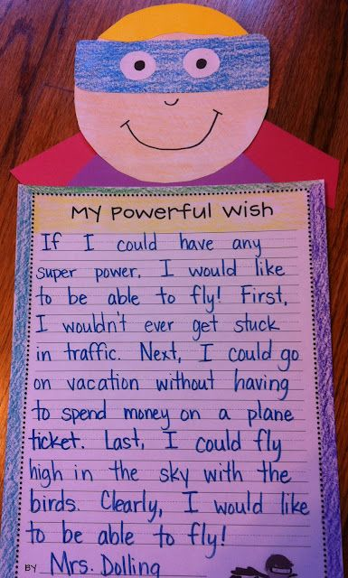 super power writing- good idea for the first week of school