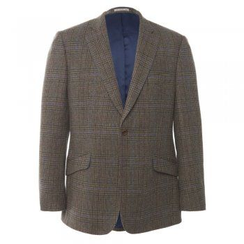 A beautiful Donegal tweed jacket. The fabric is an intricate check with a green base, interwoven with rich seasonal colours - burgundy, camel, purple, brown, navy and a hint of sea-blue. It is designed and woven in our mill in Donegal, Ireland. The mill is located near the River Eske and our fabric is washed in these peaty waters, resulting in a soft, luxurious handle. A regular fitting garment. Features include - 2 buttons, slant pockets, 4 button cuff, side vents, internal pockets and…