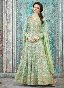 Dashing Art Silk Resham Work Floor Length Anarkali Suit