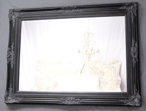 HUGE Framed Black Mirror For Sale Baroque DECORATIVE ORNATE Hollywood Regency X Extra Large