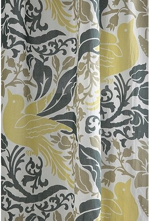 Curtains: Colors Combos, Kitchens Curtains, Yellow Curtains, Birds Flourish, Fabrics, Living Rooms Curtains, Flourish Curtains, Bedrooms Curtains, Gray Yellow