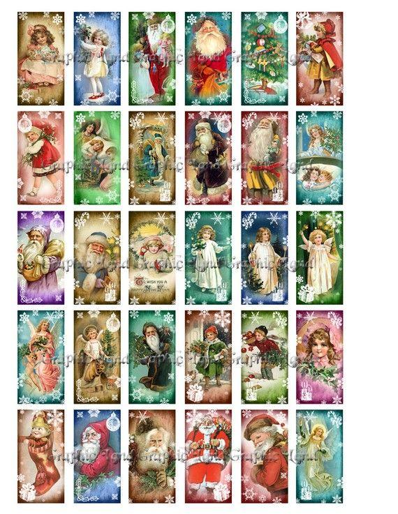 Vintage Christmas digital collage sheet printable domino ...
