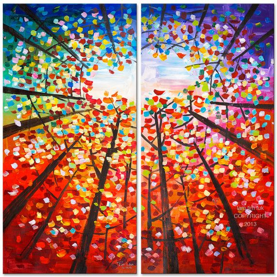 "Art Painting Abstract Painting Original impasto modern tree art 48"" MULTI colors landscape painting on gallery canvas by tim lam"