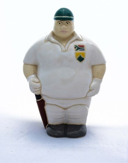 Mr. Cricket Player - Potbelly Handmade Ceramic Figurine. Buy him from Wave2Africa - an online gift and decor boutique.