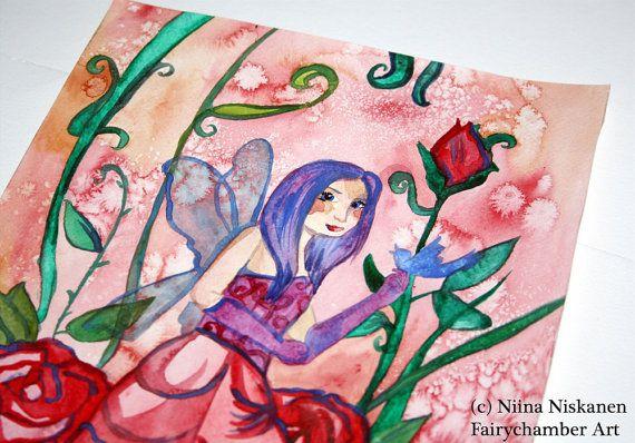 SALE Fairy of Roses  Fantasy Art  Fairy by fairychamber on Etsy