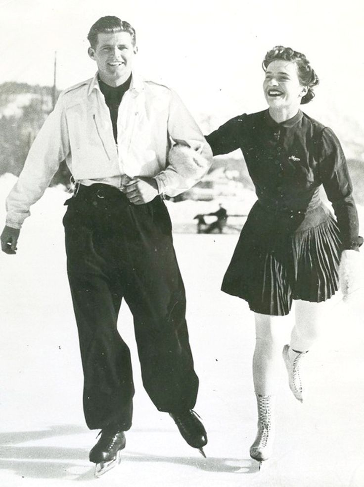 "January 17, 1939 - St. Moritz, Switzerland - Joseph Kennedy Jr., eldest son of the American ambassador to the court of St. James, out skating with Miss Megan Taylor, ♡❤❤❤♡❤♡❤❤❤♡ (Lieutenant Joseph Patrick ""Joe"" Kennedy, Jr. (July 25, 1915 – August 12, 1944) http://en.wikipedia.org/wiki/Joseph_P._Kennedy,_Jr."