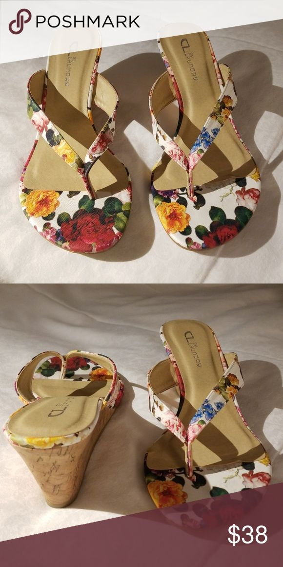 Cl By Chinese Laundry Floral Cork Wedge Size 8 1 2 Cl By Chinese