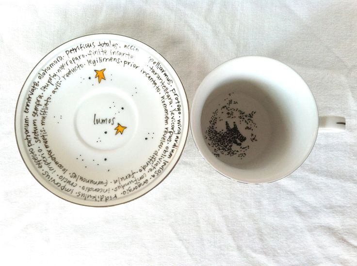 "The Grim Teacup - ""You need your Inner Eye Tested"" Ron Weasley quote - hand-painted teacup and saucer with tea leaves and spells. $16.00, via Etsy."