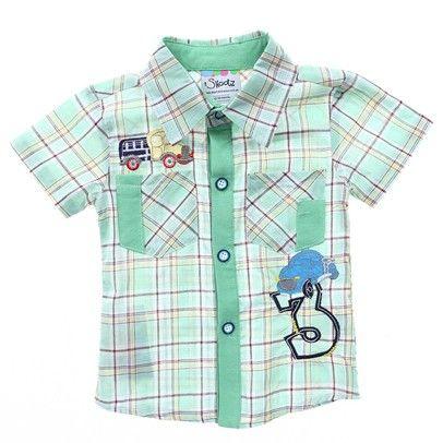 Green Checkered Boys Button Up Shirt -AJ15025 $16.00 on Ozsale.com.au