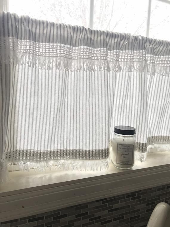 Cafe Curtains, Ticking Striped, Curtains, with white boho ...