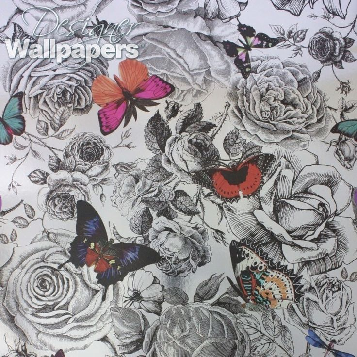 The striking Butterfly Garden features large-scale, vividly bright butterflies, set against a shimmering silver background, and has been designed exclusively for Osborne & Little by Kristjana S. Williams. This bold and eye-catching contemporary wallpaper is the perfect choice for a feature wall, and is ideally suited for a smart and modern interior.  (Produced on a 70cm wide, 9m roll. The pattern repeat measures 300cm)