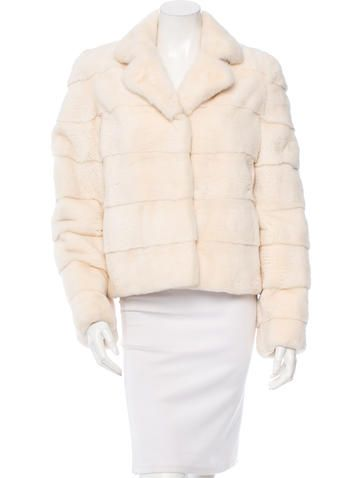 Blonde horizontal mink J. Mendel long sleeve coat with dual concealed slit pockets and concealed hook clasp closures at front. Size not listed, estimated from measurements.