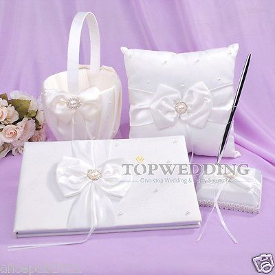 White Satin Wedding Guest Book & Pen SET Ring Bearer Pillow Basket w/ Pearls Bow