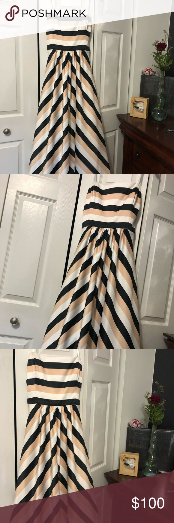 David's Bridal Prom Dress Gorgeous Striped Prom Dress, only worn once for my junior prom! size 18 navy blue white and cream colored stripes. I'm 5 ft 4 with heels the dress does not touch the ground David's Bridal Dresses Prom