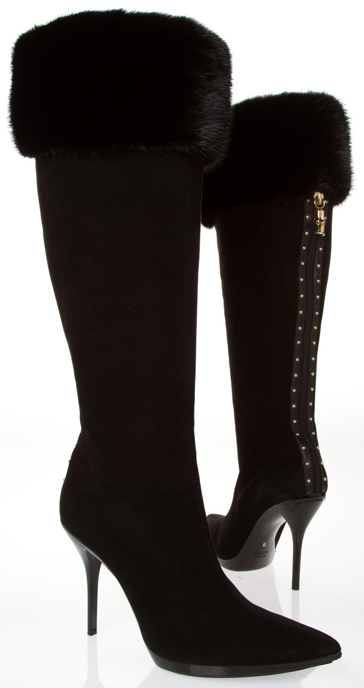 #Gucci black and gold fur #high #heel #boots
