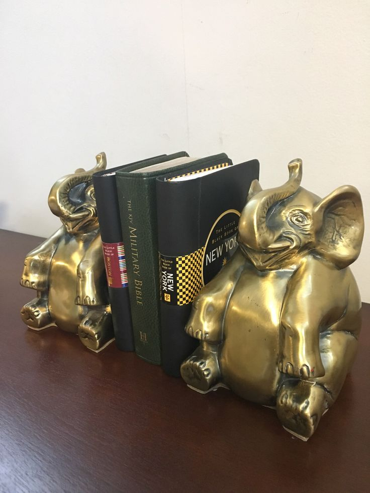 SOLID BRASS ELEPHANT , Vintage Bookends 6'' High x 4'' Wide x 4'' Deep and are very heavy weight ( 6.5 lb ) by JUST4DECOR on Etsy https://www.etsy.com/listing/497633000/solid-brass-elephant-vintage-bookends-6