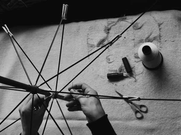 Hand sewn interior rosettes. Lockwood umbrellas manufactory - London, England, 2016.