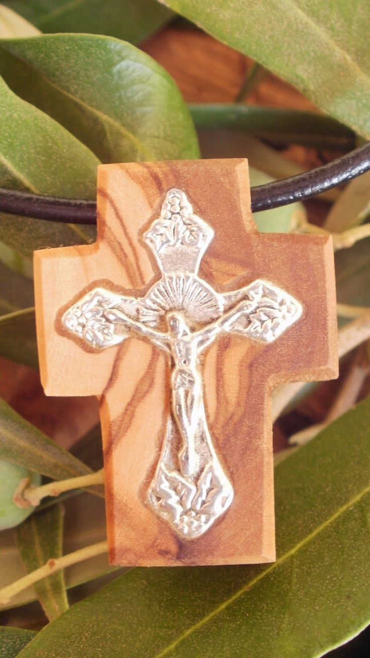 Hand carved Greek Olive Wood small cross pendant inlaid with Tibetan silver crucifix by ellenisworkshop on Etsy