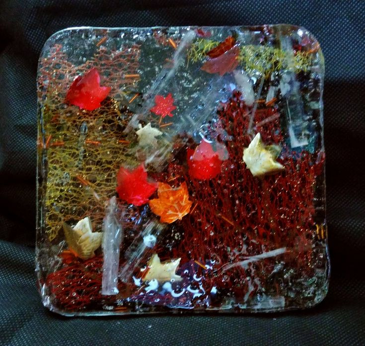 Falling Leaves Selenite Orgonite Charger Plate by KomacOrgonite on Etsy