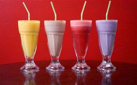 Colourful milkshakes, just add alcohol. Perfect for warmer days.