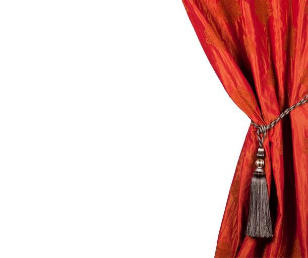 Rideau baroque avec embrase - Taffetas et Chenille - DUOMO* - Rouge orangé