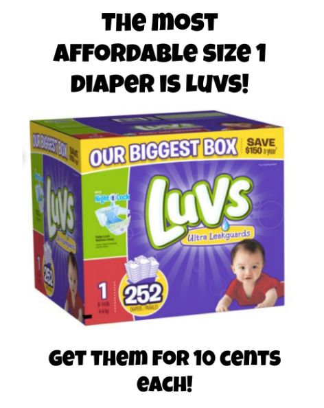 Need size 1 diapers? Find out how to get Luvs for 10 cents each with a money-back guarantee. Pampers and Huggies are generally 14-15 cents each so this is the best deal!