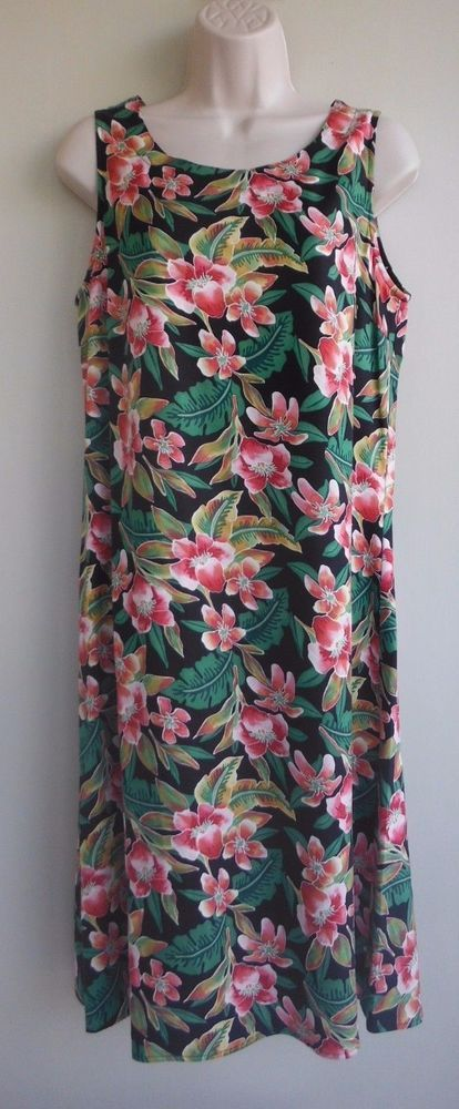 COLDWATER CREEK Dress Size 10 Floral Black Red Green 100% Silk Summer #ColdwaterCreek