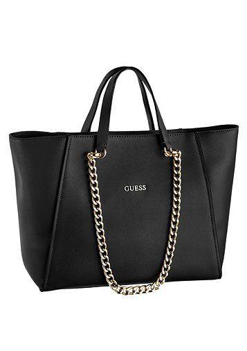 Guess Handtasche mit Kettenapplikation - schwarz - GUESS