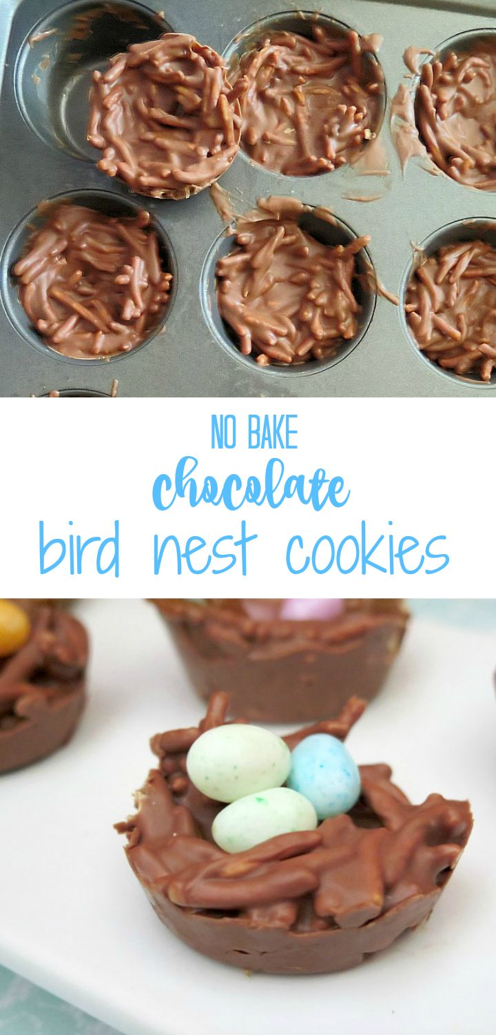 Easy to make desserts for a bless this nest baby shower theme or for Easter! Chocolate bird nest cookies!