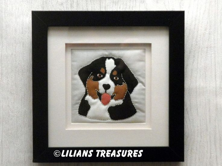Bernese Mountain Dog puppy : Hand quilted picture in Crafts, Quilting | eBay #quilture #bmd #bernese #berner #picture #gift #quilt #puppy