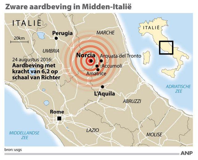 Dodental aardbeving Italië bijgesteld naar 250 | Aardbeving Italië | De Morgen