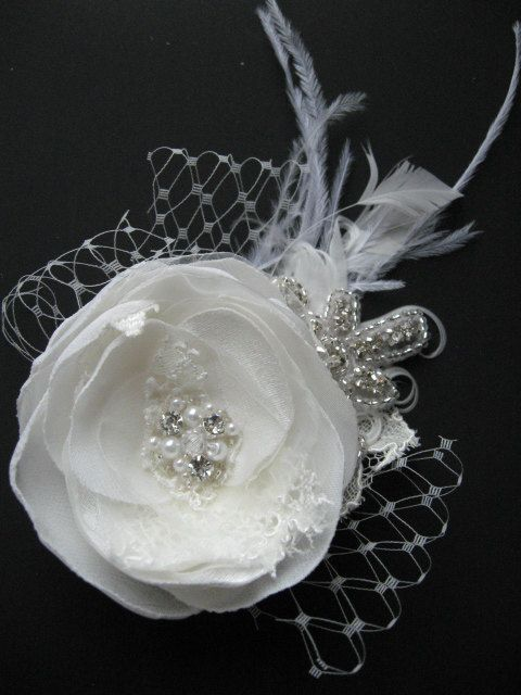 Ivory Flower Bridal Lace Wedding Hair Accessory Rhinestone