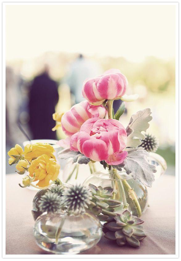 Great mix: Bud Vase, Yellow Floral, Simple Centerpieces, Colors, Decor Parties, Rustic Centerpieces, Wedding Flowers, Bouquets, Floral Arrangements