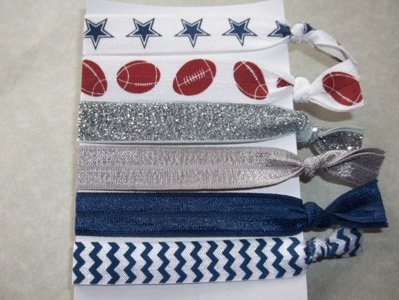 FOE Elastic Hair Ties Blue White Silver GAME DAY Collection -Dallas Cowboys- Toddlers Girls Women -Set of 6- on Etsy, $5.95