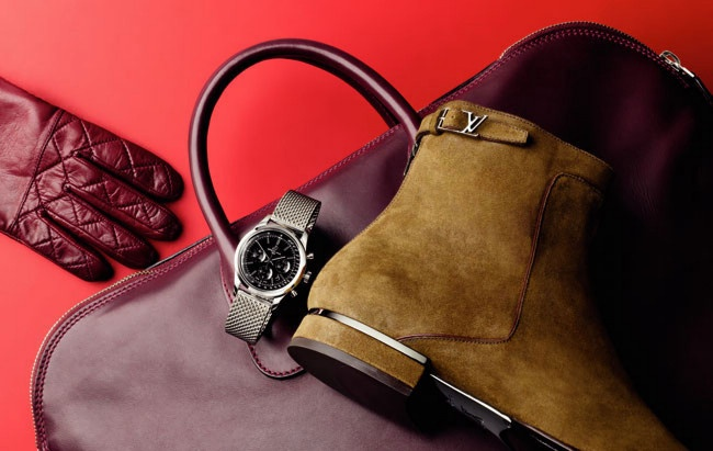 Transocean' watch, $9680, by Breitling; leather gloves by COS; suede 'Vesuvio' boots, $1410, by Louis Vuitton; leather bag by Valextra.