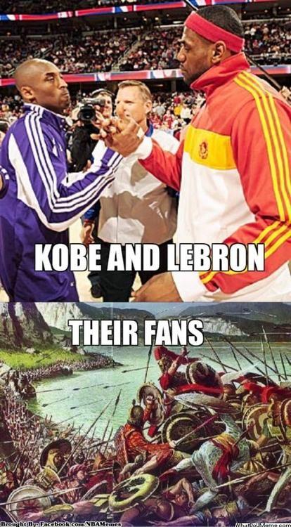 Kobe Bryant vs. LeBron James! - http://nbafunnymeme.com/kobe-bryant-vs-lebron-james/